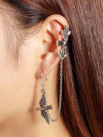 Bird Design Ear Cuff 1pcs With Chain