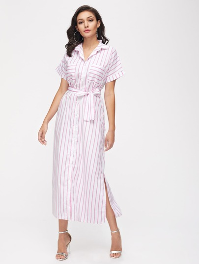 Stripe Split Side Belt Shirt Dress With Chest Pocket