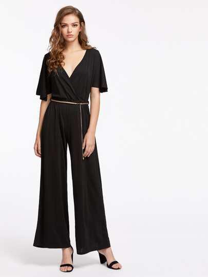 Split Sleeve Surplice Front Culotte Jumpsuit