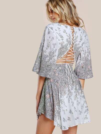 Floral Print Lace Up Dress FLORAL