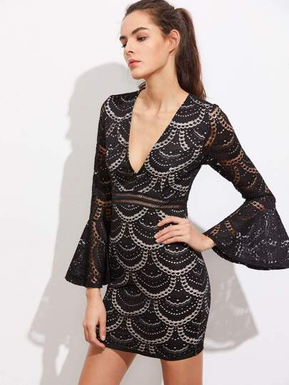 V-Neckline Bell Sleeve Lace Bodycon Dress