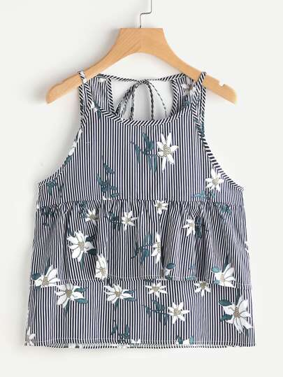 Vertical Striped Florals Frill Trim Tie Back Cami Top