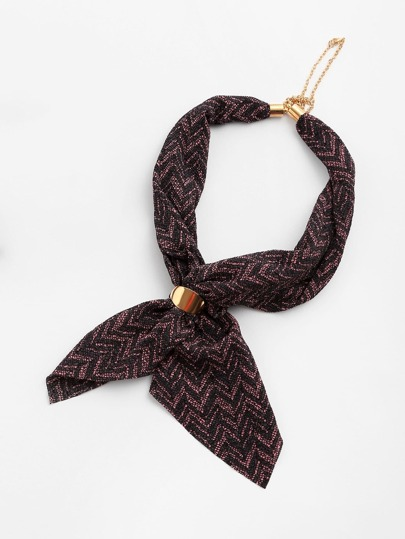 Chevron Pattern Neckerchief With Chain