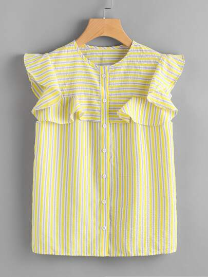 Frilled Yoke Button Up Striped Blouse