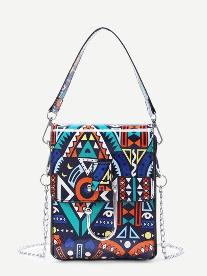 Geometric Print PU Chain Bag With Handle