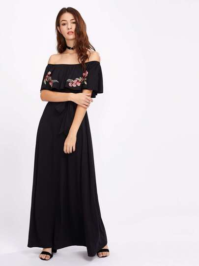 Embroidered Flower Patch Self Tie Frill Bardot Dress