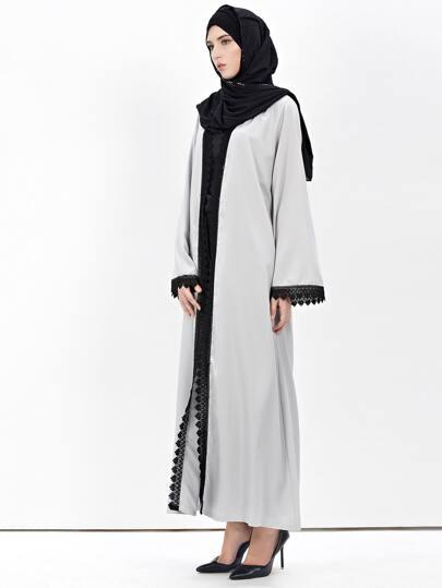 Contrast Lace Trim Longline Abaya