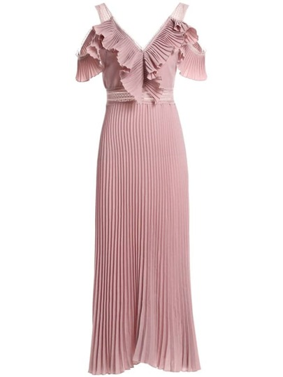V Neck Backless Ruffle Pleated Dress