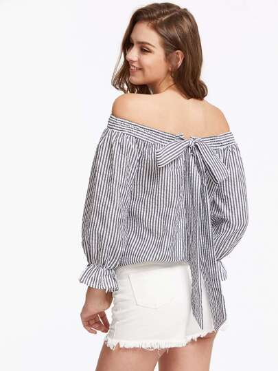 Shirred Off The Shoulder Bow Tie Back Top