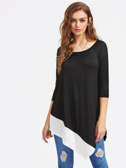 Kontrast Saum asymmetrisches T-Shirt