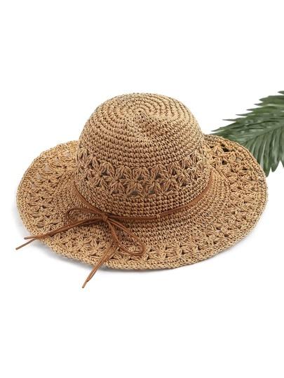 Sombrero playero de paja con cordón