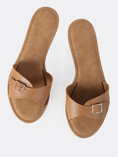Faux Leather Buckles Slip Ons TAN