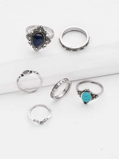 Gemstone Design Retro Ring Set 6pcs