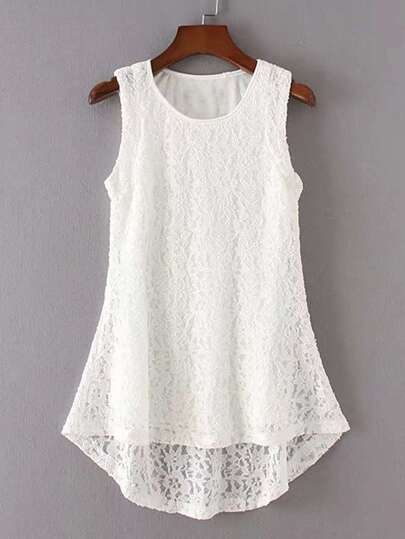 Crochet Lace High Low Sleeveless Top