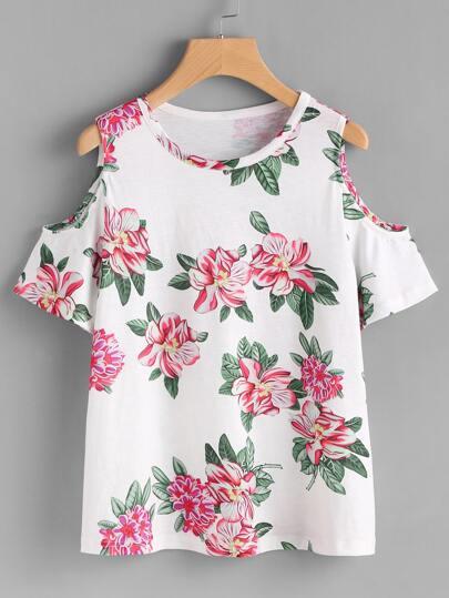 Tee-shirt épaules dénudées imprimé des fleurs