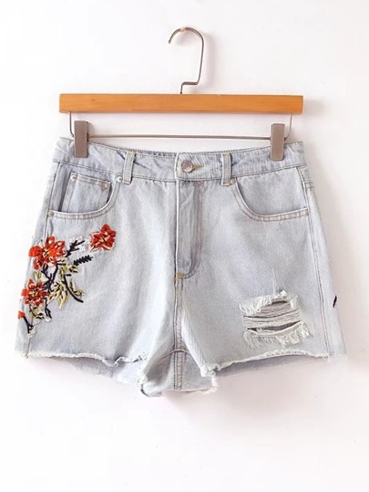 Faded Wash Embroidered Shredded Denim Shorts