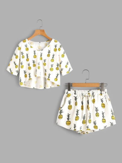 Allover Pineapple Print High Low Tee And Shorts Pajama Set