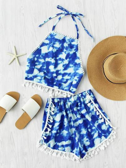 Tie Dye Tassel Trim Crop Top With Dolphin Shorts