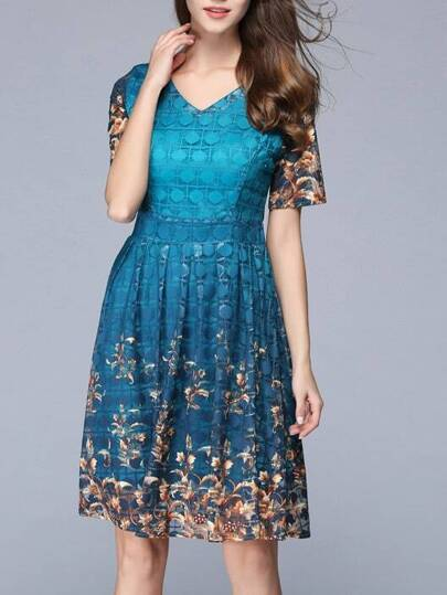 V Neck Vintage Print Dress