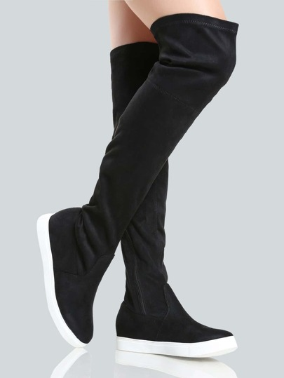 Faux Suede Sneaker Boots BLACK