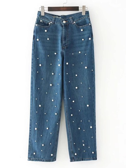 Pearls Embellished Straight Jeans