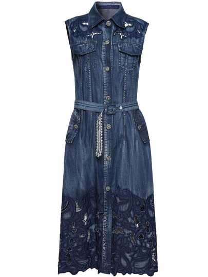 Embroidered Hollow Belted Pockets Dress