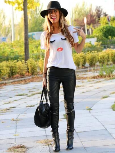 T-Shirt Kurzarm mit Wimper Lippe Druck-weiß
