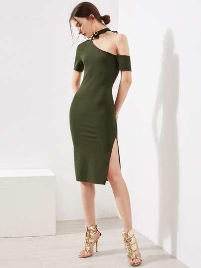 Halter Asymmetric Shoulder Slit Dress