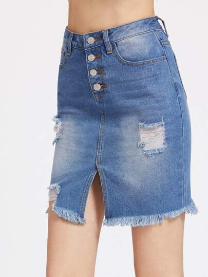Button Fly Vent Front Bleach Wash Frayed Denim Skirt