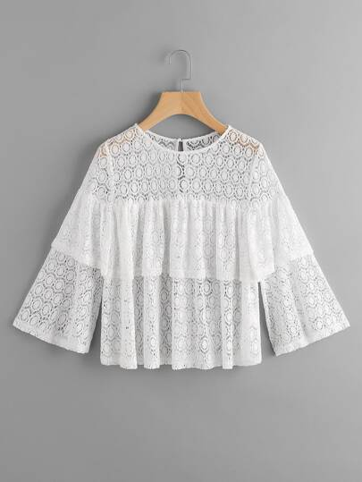 Bell Sleeve Tiered Dot Lace Top