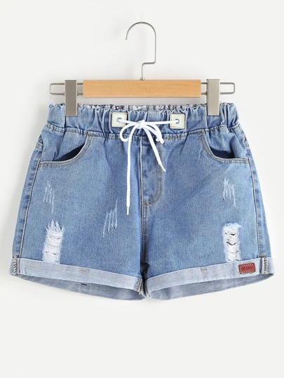 Pantaloncini in Denim Pigiamato alla vita di Drawstring distressed