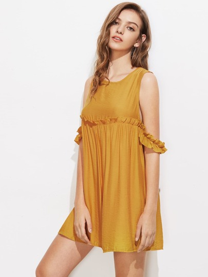 Open Shoulder Frill Trim Dress