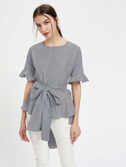 Gingham Keyhole Back Frill Cuff Self Tie Blouse