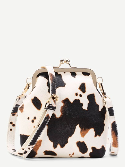 Graphic Print Kiss Lock PU Crossbody Bag