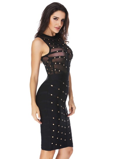 Studded Sheer Mesh Panel Bandage Dress