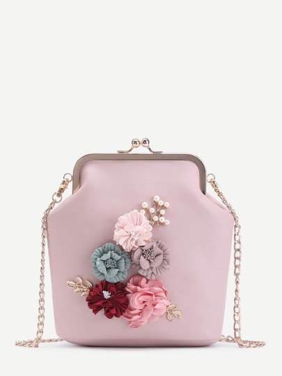 Applique Kiss Lock Chain Bag With Faux Pearl