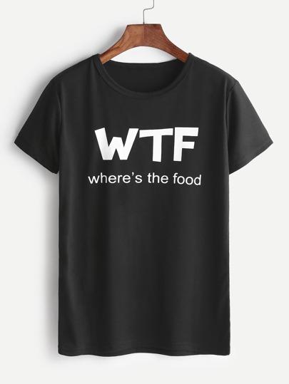 Черная Буквица Print Causal T-shirt