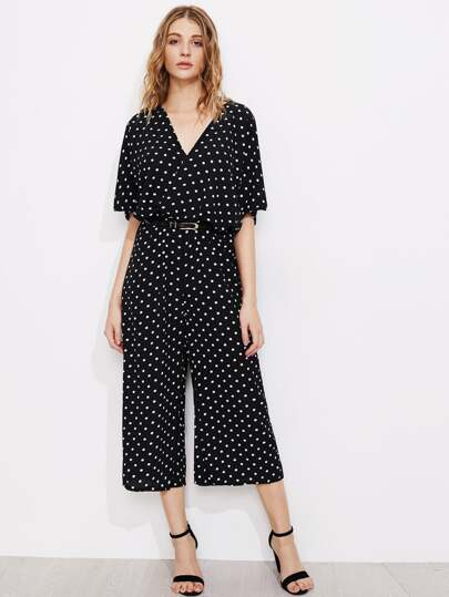 Polka Dot Bow Tie Back Surplice Wide Leg Jumpsuit