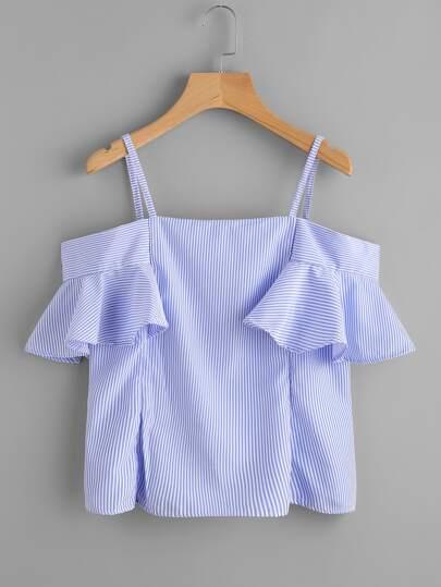 Bluse mit Falten auf den Ärmeln und Streifen