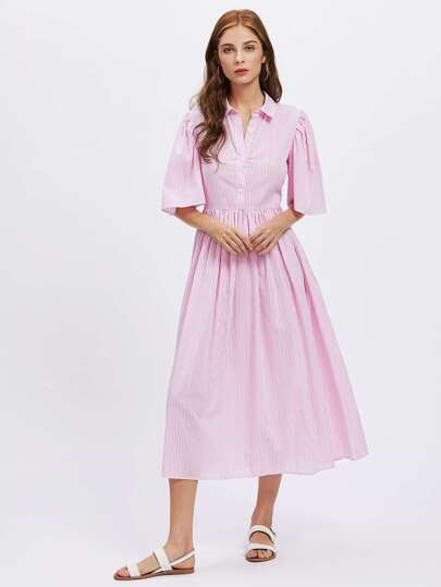 Fluted Sleeve Half Placket Fit & Flare Shirt Dress