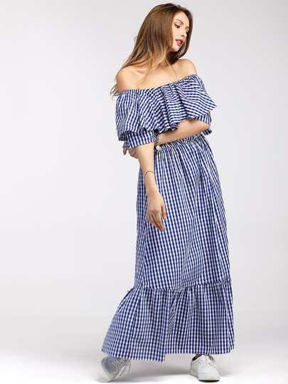 Gingham Flounce Layered Tiered Bardot Dress