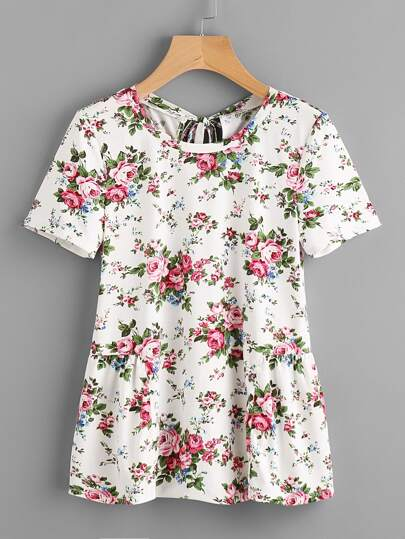 Flower Print Keyhole Tie Back Gather Side T-shirt
