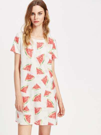 Vestido estilo camiseta con estampado de sandía