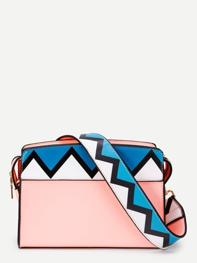 Chevron Print Strap PU Crossbody Bag
