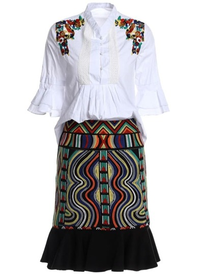 Ruffle Sleeve Flowers Embroidered Top With Tribal Skirt