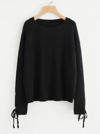 Lace Up Grommet Sleeve Jumper