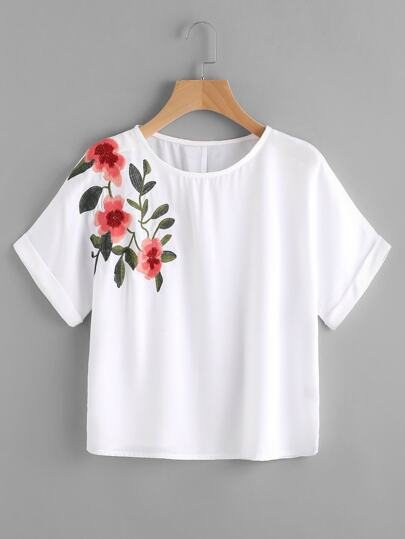 Crop T-Shirt mit Blumen Stickerei