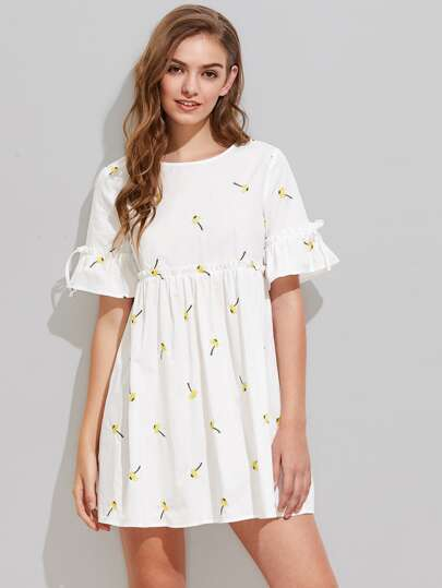 Dandelion Embroidered Frilled Fluted Sleeve Babydoll Dress