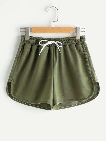 Shorts avec pan divisé asymétrique avec cordon de taille élastique