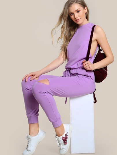 Dropped Armhole Drawstring Waist Pockets Jumpsuit